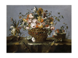 Flowers in a Basket and Flowers and a Sprig of Cherries on a Rocky Bank Giclee Print by Francesco		 Guardi