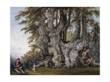 A Boy making a Dog dance by the Bole of an Ancient Gnarled Beech Tree Prints by Paul		 Sandby
