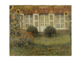 Pavilion House with Sunflowers Giclee Print by Henri		 Le Sidaner