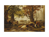 Cattle in a Wooded River Landscape Print by Auguste Francois		 Bonheur