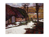 Peasant in Front of a Thatched Cottage Giclee Print by Victor Charreton