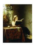 A Girl Reading Giclée-tryk af Meyer Johan Georg