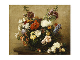 Various Flowers and Roses in a Basket, a Bouquet of Roses on the Table Art by Henri Fantin-Latour