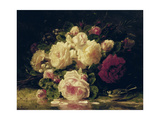 Roses with a Blue Tit by a Stream Premium Giclee Print by Jean Baptiste Claude Robie
