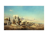 A Neapolitan Village with Vesuvius in the Distance Giclee Print by Robert		 Alott