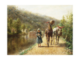 On the Towpath Premium Giclee Print by Henry Edward Lamson