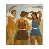 Three Bathers at Lake Balaton Print by Karoly		 Patko