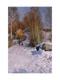 A Winter Landscape with Children Sledging Print by Peder Mork Monsted