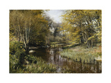 A Wooded River Landscape Art by Peder Mork Monsted