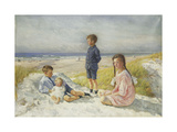 Erik, Else, Ove and Birthe Schultz on a Beach Giclee Print by Gabriel Oluf		 Jensen