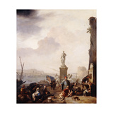 A Mediterranean Seaport with the Monument of Grand-Duke Ferdanindo I of Tuscany at Leghorn Print by Johannes		 Lingelbach