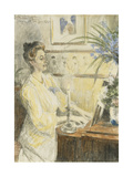 Portrait of Johanne Helene Louise Brodersen, at the Piano Prints by Peder Severin Kroyer