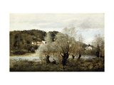 Fisherman on the Edge of a Pond in the Village of Avary Reproduction giclée Premium par Jean-Baptiste-Camille Corot