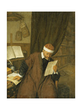 A Lawyer Seated at a Desk Reading a Letter, a Library Beyond Giclee Print by Adriaen Jansz Ostade