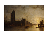 Westminster Abbey, The Houses of Parliament with the Construction of Westminster Bridge Prints by Henry		 Pether