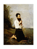 Peasant in Prayer; Paysan en Priere Prints by Jean-Baptiste-Camille Corot