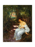 A Young Woman Seated on a Wooded Path Posters by Albert-Auguste		 Fourie