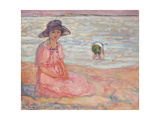 Woman in the Pink Dress by the Sea Poster by Henri		 Lebasque