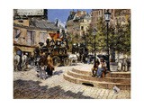 A Busy Paris Square Giclee Print by Felix Hilaire		 Buhot
