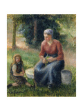 Peasant and girl, Eragny Prints by Camille Pissarro