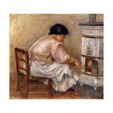 Woman at the Corner of the Stove Prints by Pierre-Auguste		 Renoir