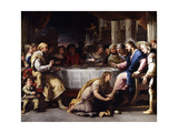The Magdalen washing Christ's Feet in the House of Simon Giclée-tryk af Giordano Luca