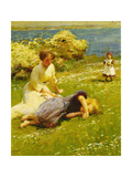Young Girls on a Cliff Top Posters by Harold Harvey