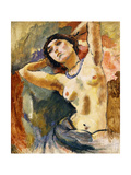 Nude (Brunette with Blue Necklace) Giclee Print by Jules		 Pascin