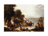 Landing of Henry Hudson, 1608 at Verplanck Point, Near Peekskill, New York Giclee Print by Robert Walter		 Weir