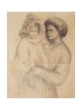 Claude Renoir in the arms of his Nurse, Renee Jolivet Posters by Pierre-Auguste Renoir