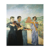 Three Women in the Vineyard Giclee Print by Klinger Max