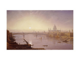 Southwark Bridge and St. Paul's Cathedral from London Bridge: Evening Print by George Fennel		 Robson