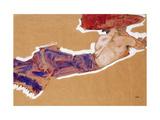 Egon Schiele - Reclining Semi-Nude with Red Hat - Giclee Baskı
