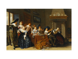 Elegant Figures with Instruments Seated at a Table and a Young Lady Singing in a Interior Giclee Print by Hals Dirck