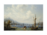 Boats on the Bosphorous, off Constantinople Giclee Print by Auguste Etienne Mayer