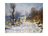 Road to Giverny in Winter Giclee Print by Claude Monet