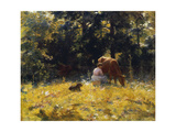 Milking Time Print by Charles Courtney Curran