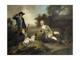 A Gentleman Reclining with a Gun and Dog and his Gamekeeper Standing Nearby Premium Giclee Print by Henry		 Walton