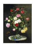A Bouquet of Roses in a Glass Vase by Wild Flowers on a Marble Table Prints by Otto Didrik		 Ottesen