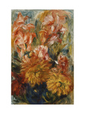 Gladioli in a Blue Vase Print by Pierre-Auguste Renoir