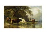 Cattle Watering in a River Landscape Poster by Friedrich Johann Voltz