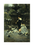 Feeding the Pigeons Giclee Print by Eugene		 Joors