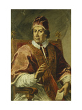 Portrait of Pope Clement XI, Seated Half Length, Wearing Papal Robes, Holding a Letter Posters by Pier Leone		 Ghezzi