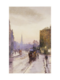 Catching the Tram in Nassau Street, Dublin Posters by Rose Maynard		 Barton