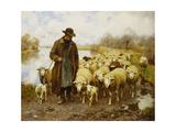 A Shepherd and Sheep by a Lake Kunst van Julius Hugo Bergmann