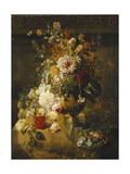 Roses, Convolvuli, Carnations, Hollyhocks, Peonies, Lilac and Other Flowers in a Vase Poster by Georgius Jacobus Os