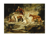 A Hunting Scene with Borzois Print by Frederico Olaria