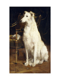 A Borzoi by a Chair Art by St. George		 Hare