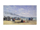 The Beach at Trouville at Bathing Time Giclee Print by Eugène Boudin