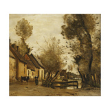 Flesselles, Street with Peasant and Cow Art par Jean-Baptiste-Camille Corot